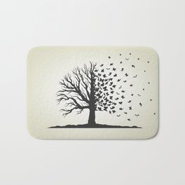 dried tree with branches and flying butterflies Bath Mat