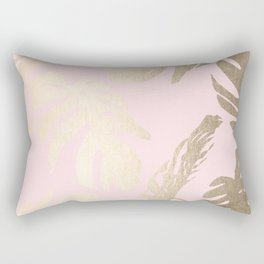Simply Tropical Palm Leaves White Gold Sands on Flamingo Pink Rectangular Pillow