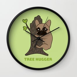 Black mask Frenchie is an environmental friendly tree hugger Wall Clock