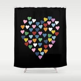 Hearts Heart Black Shower Curtain
