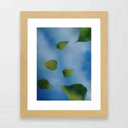 Green Leaves falling Framed Art Print