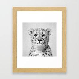 Cheetah - Black & White Framed Art Print