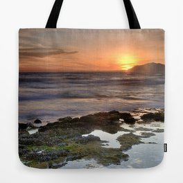 Water curves at sunset Tote Bag