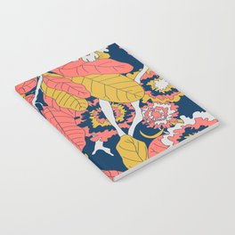 Limited Color Palette Bold Jungle Leaf Floral Notebook