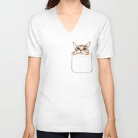 pocket fuel V-neck T-shirts featuring Pocket cat by Anna Shell