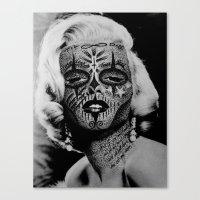 monroe Canvas Prints featuring Monroe by mothafuc