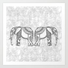 Indian Elephants Art Print