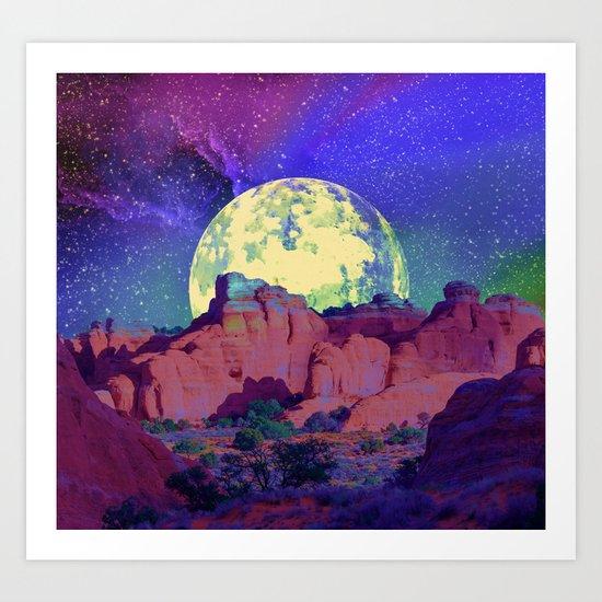 night desert landscape Art Print