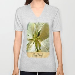 Pale Yellow Poinsettia 1 Happy Holidays S2F1 Unisex V-Neck