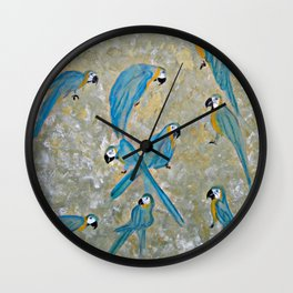 Gold And Blue Macaws Wall Clock