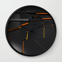 Black fractured surface with orange glowing lines Wall Clock