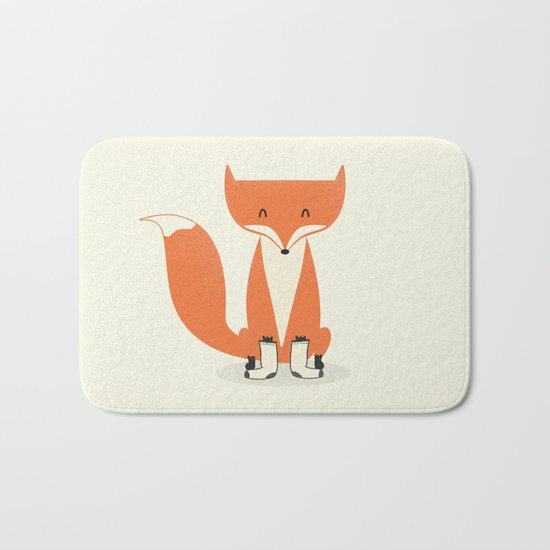 A Fox With Socks Bath Mat