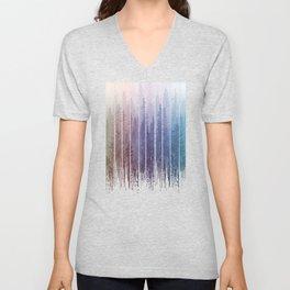 Grunge Dripping Rainbow Misty Forest Unisex V-Neck