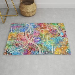 Cincinnati Ohio City Map Rug