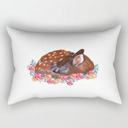 Deer, Fawn, baby deer, flowers Rectangular Pillow