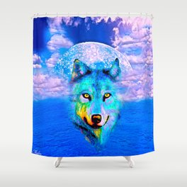 Wolf Moon and the Deep Blue Sea Shower Curtain