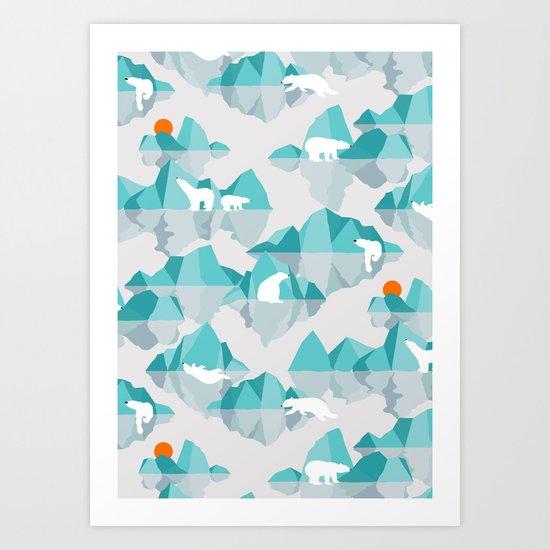 polar bear on floating iceberg Art Print