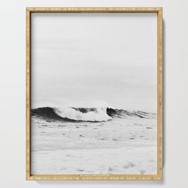 Minimalist Black and White Ocean Wave Photograph Serving Tray