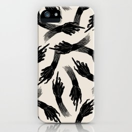 Vintage Retro Pointing Hands Witch Halloween Black Ink Fingers Zombie Pattern iPhone Case