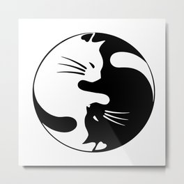 black and white cat yinyang Metal Print