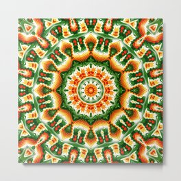 Green And Orange Abstract Metal Print