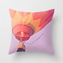 Summer Hot Air Balloon Throw Pillow