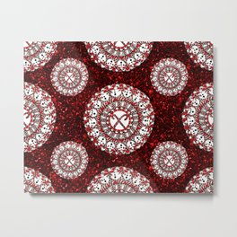 Red Glitter and Sparkling Candy Cane Mandala Textile Metal Print