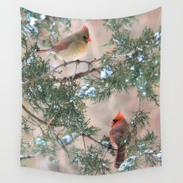 Winter Pair Cardinals (v) Wall Tapestry