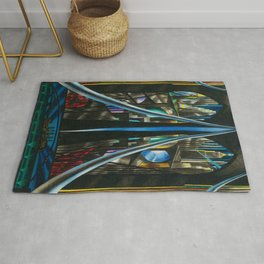 Brooklyn Bridge, New York City Skyline Art Deco landscape painting by Joseph Stella Rug
