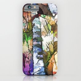 White Aspen and  Birch Trees Contemporary Art iPhone Case