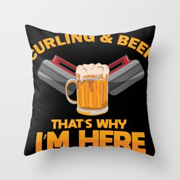 Curling Player Beer Lover Stone Sports Gift Throw Pillow