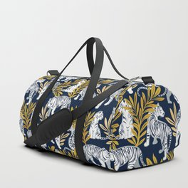 Nouveau white tigers // navy blue background yellow leaves silver lines white animals Duffle Bag