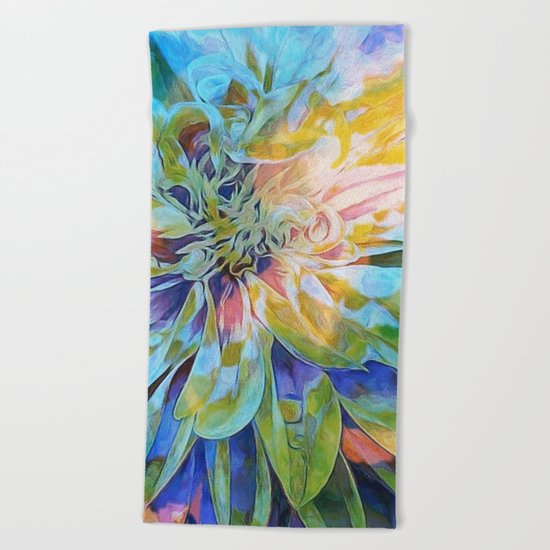 Rainbow Floral Blue Beach Towel