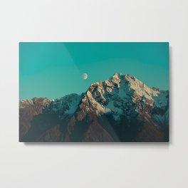 Moon Over Pioneer Peak in Turquoise - Alaska Metal Print