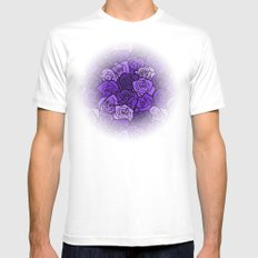 Romantic Purple roses with black outline MEDIUM Mens Fitted Tee White