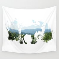 moose Wall Tapestries featuring Moose by Corina Rivera Designs