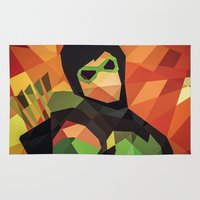 dc comics Area & Throw Rugs featuring DC Comics Green Arrow by Eric Dufresne