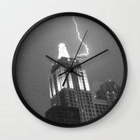 lightning Wall Clocks featuring Lightning by Melynda Nichole