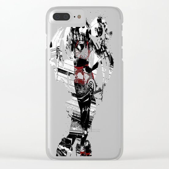 Ornamental Pinup in Black, White, and Red Clear iPhone Case