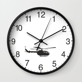 Black German Helicopter Bo105 Wall Clock