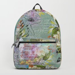Grunged Florals on Green Backpack