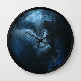 Blue Smoke on White Wall Clock