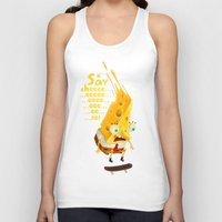 cheese Tank Tops featuring Say cheese by Lime