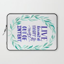 Watercolor Wreath Intentional life quote Laptop Sleeve