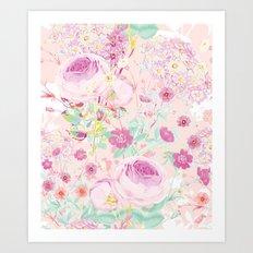 Flower bouquet in pink Art Print