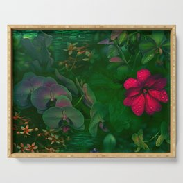 Gathering of Flowers - [Green Version] Serving Tray