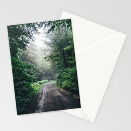 Dark Forest Path - Mysterious Misty Fog Woods Stationery Cards
