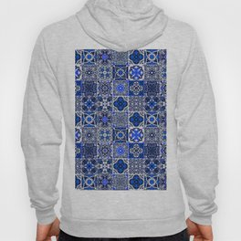 -A34- Blue Traditional Floral Moroccan Tiles. Hoody