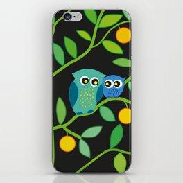 Owls in orange tree iPhone Skin