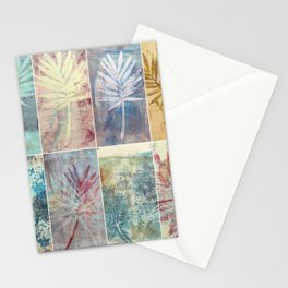 Monoprint collage of leaves Stationery Cards